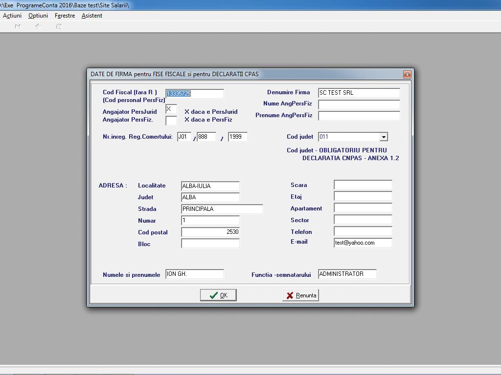 Configurare date firma declaratii formular