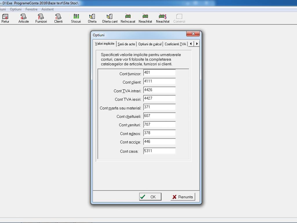Configurare valori implicite