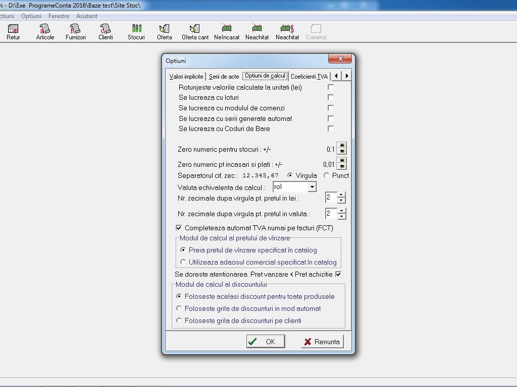Configurare optiuni calcul