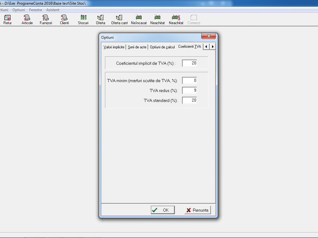 Configurare coeficienti TVA