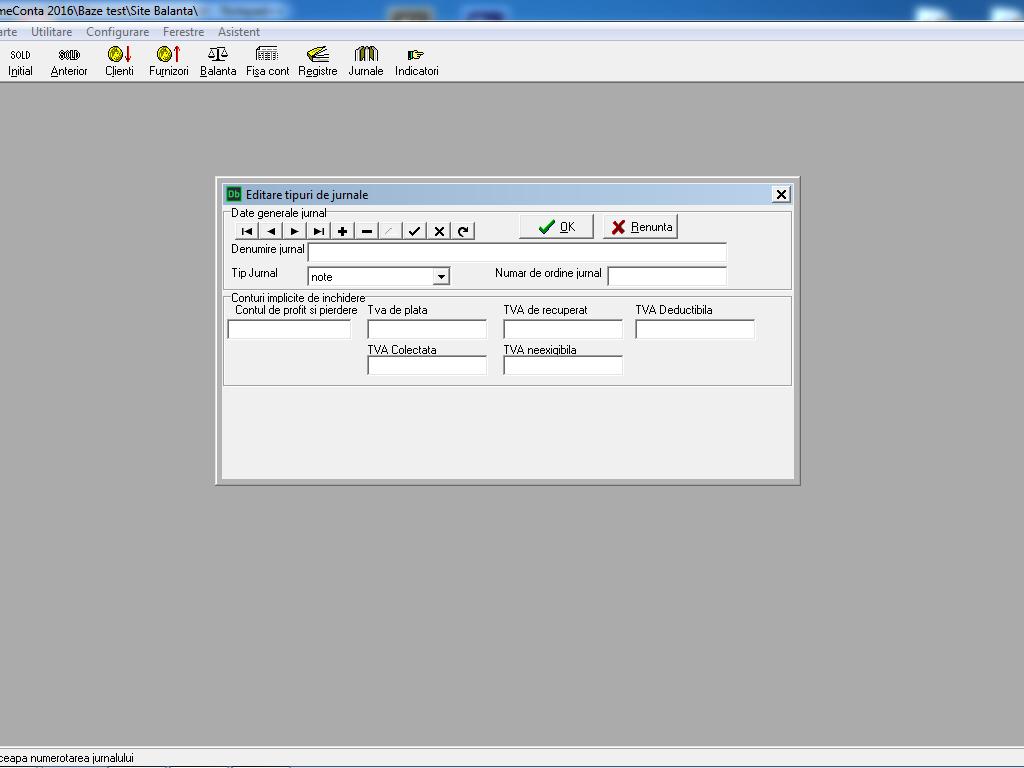 DataBal configurare jurnal