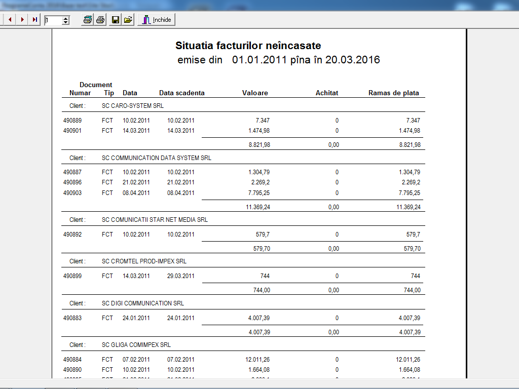 XStock situatie facturi neincasate